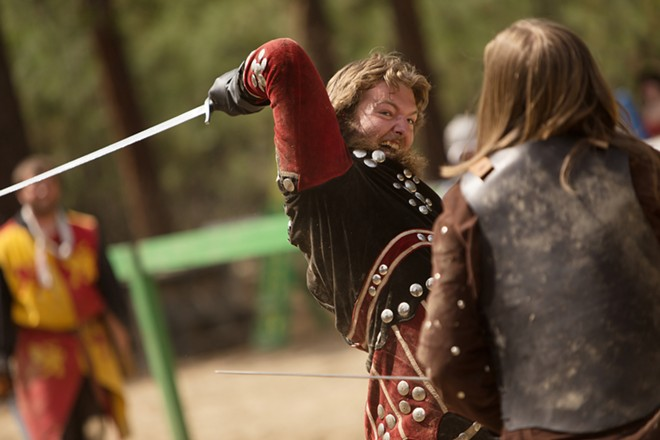 Trevor Staples (Sir Edmund Walsingham), left, and Dade Staples (Sir Wulfric Ulfenhaad) fight during Knightly Games on Foot. - YOUNG KWAK