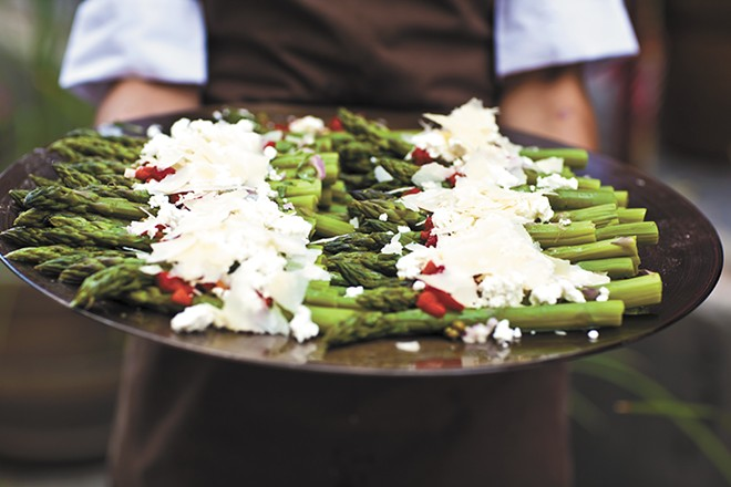 Try this: asparagus salad with roasted red peppers and goat cheese. - IFONG CHEN