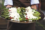 Try this: asparagus salad with roasted red peppers and goat cheese.