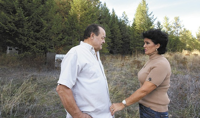 Two members of the so-called Kettle Falls Five: Larry Harvey his wife Rhonda Firestack-Harvey, on land where they once grew medical marijuana near Colville. - YOUNG KWAK