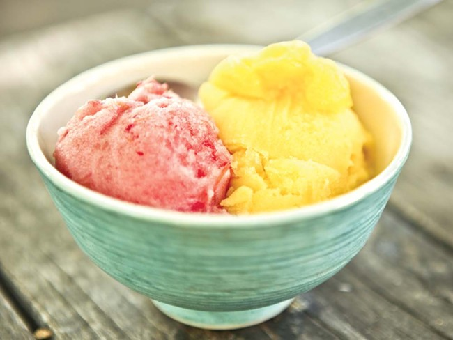 Two of Brain Freeze's refreshing summer flavors: strawberry and mango sorbet - JORDAN BEAUCHAMP