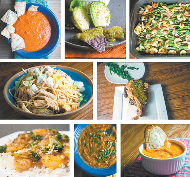 Clockwise, from top left: Spicy harissa; salsa verde (which can't be made with Brussels sprouts); lime shirmp and veggie bake; South American steak; tomato and roasted red pepper soup; red lentil soup; Szechwan shrimp; and Yakisoba noodles. - DANIEL WALTERS PHOTOS