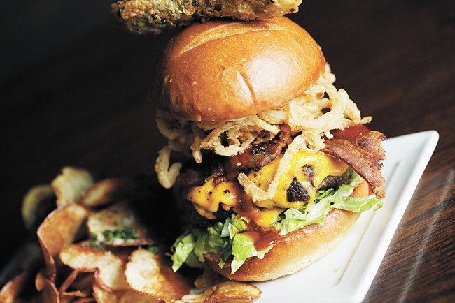 A Wednesday Chef's Special Burger at Downriver Grill. - YOUNG KWAK