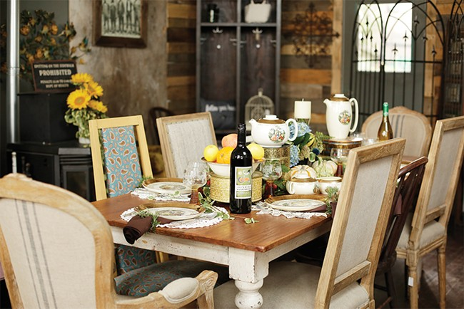 Farm Salvation's Gerri Johnson's vintage china feels fresh and friendly when combined with earthy elements — above, a fruit bowl and a scattering of gourds offer an autumn touch. - YOUNG KWAK