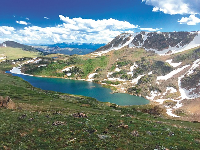 Montana's Beartooth Plateau, where the author found enough snow one June for a couple of turns on his skis.
