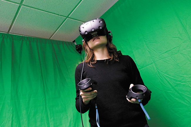 WSU medical school student Kim Huynh can deconstruct a human body inside her VR world. - YOUNG KWAK