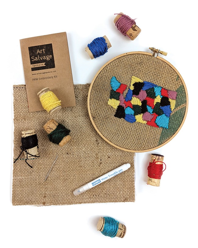 PNW embroidery kit ($24) — you can make Washington, Idaho Oregon or Montana.