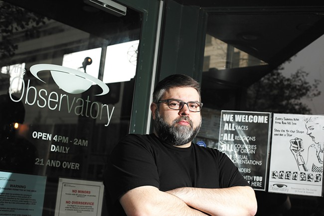 Tyson Sicilia, owner of the Observatory, is working with Spokane bar owners to keep hate out of their establishments. - YOUNG KWAK