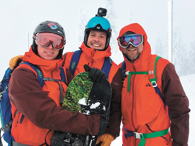 The author, right, and fellow ski guides.