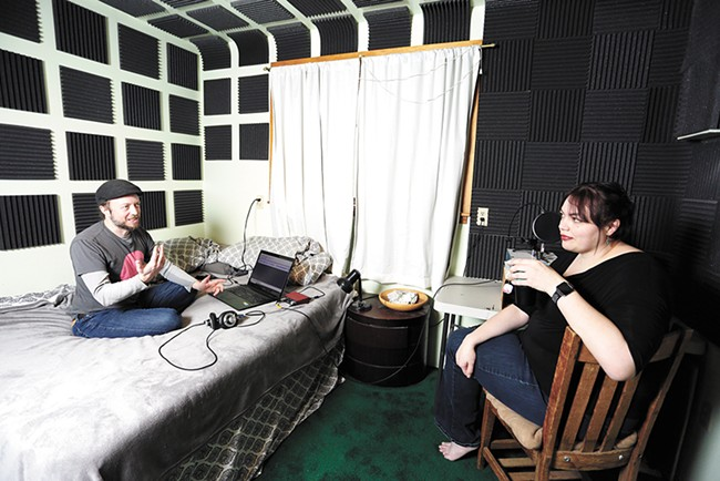 Producer Jeremiah Puhek and host Andrea Parrish talk after a recent recording session. - YOUNG KWAK PHOTO