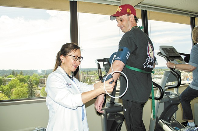Vince Cohen gets his blood pressure monitored by Dr. Ellie Mueller at the Rockwood Clinic Heart and Vascular Center. - SARAH WURTZ