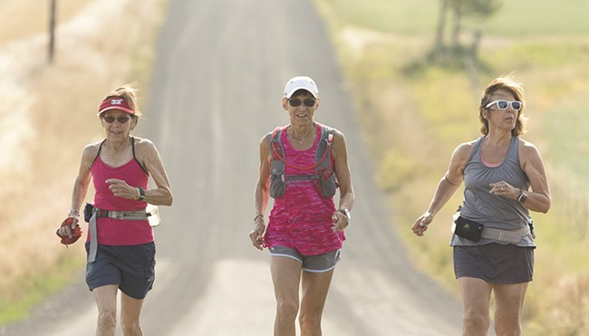 Gunhild Swanson (center) inspired feel-good stories around the globe last week after finishing a 100-mile race in 29 hours, 59 minutes and 54 seconds. Here she's seen training with friends, Sylvia Quinn, 78, and Mary Ann Clute, 62.