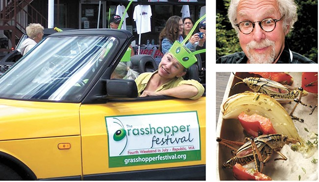 """The Grasshopper Festival in Republic (left) features the culinary work of """"Bug Chef"""" David George Gordon (top right)."""
