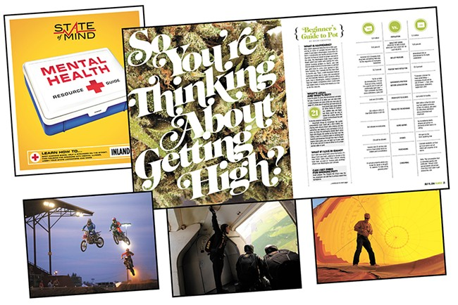 """The Inlander's """"State of Mind"""" series, Art Director Chris Bovey's """"So You're Thinking About Getting High?"""" layout design and Young Kwak's photographs all won first place awards from the Association of Alternative Newsmedia earlier this month."""