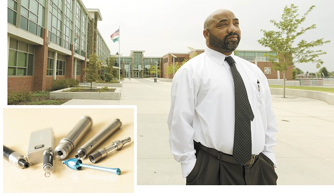 """We saw cigarette kids immediately become e-cig kids,"" says Phil High-Edward, assistant principal at Spokane's Shadle Park High School. During the 2014-15 school year, he confiscated numerous vaporizers, including some homemade ones (inset). - YOUNG KWAK"