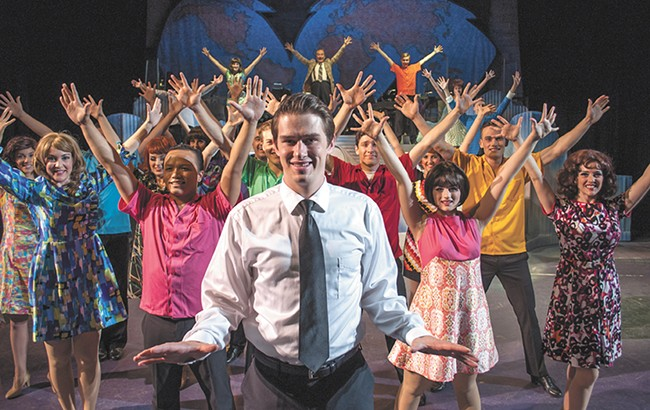 Cody Brady (center) plays Frank Abagnale in the Civic's production of Catch Me If You Can. - SARAH PHILP