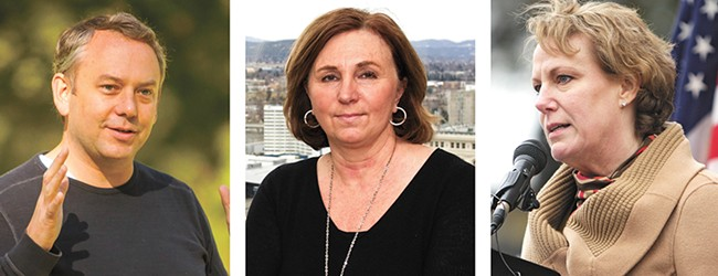 FROM LEFT: Mayor David Condon, City Attorney Nancy Isserlis and City Administrator Theresa Sanders are named in a $4 million claim filed by ousted Police Chief Frank Straub.