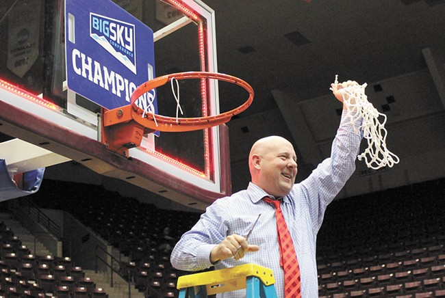 Coach Hayford cuts down the nets after a come-from-behind win against Montana gave the Eagles their first Big Sky Championship in more than a decade.