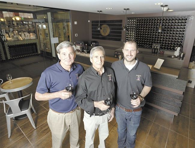 FROM LEFT: Barrister Winery's Michael White, Greg Lipsker and Tyler Walters at the winery's new tasting room. - YOUNG KWAK