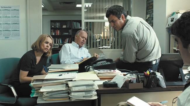 Rachel McAdams, Michael Keaton and Mark Ruffalo in Spotlight.
