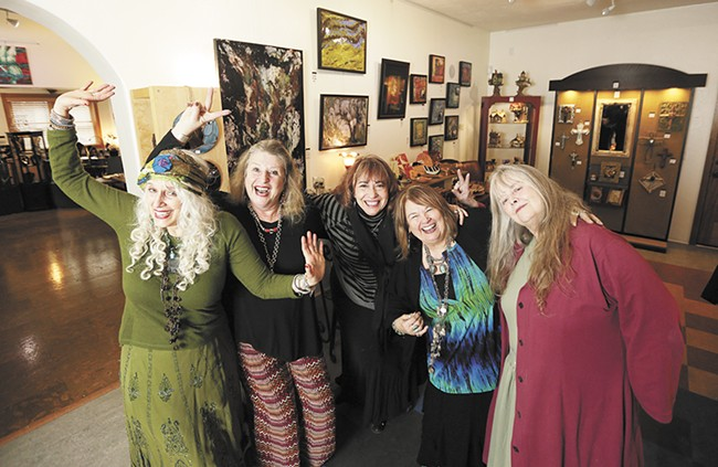 New Moon Gallery co-op core members (left to right): Michele Mokrey, Sigrid Morgan-Neil, Melinda Melvin, Denise Steen and Linda Malcombe. - YOUNG KWAK