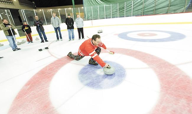 Dale Garraway curling at Riverfront Park. - YOUNG KWAK