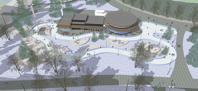 "The decision to change the ice rink design from a ""rink"" to a ""ribbon"" resulted in this cool design here — but added $900,000 to the project. - STANTEC DESIGN"