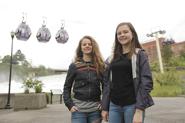 Spokane ninth graders Brittan Hart, left, and Madison Seipp teamed up to create Riverside Storybook, a teen literature and art anthology. - YOUNG KWAK