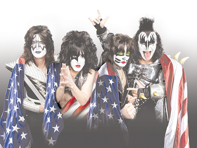 Gene Simmons (far right) is ready to show off that infamous tongue come Friday night.