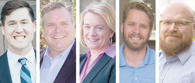 FROM LEFT: Ian Field, Mike Volz, Lynnette Vehrs, Samuel Canty and Barry Pfundt are hoping to be the next representative from the 6th Legislative District.
