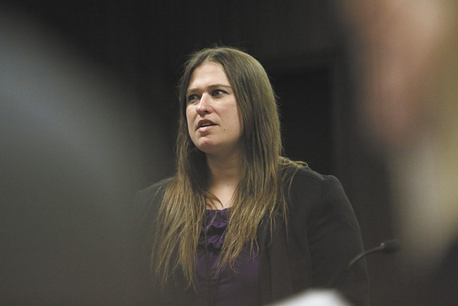 Public defender Kendra Allen-Grant represents clients who appear in front of Judge Tripp.