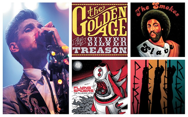 Clockwise, from left: Kevin Cameron of Silver Treason, the band's album; The Smokes; Peru Resh; and The Flying Spiders.