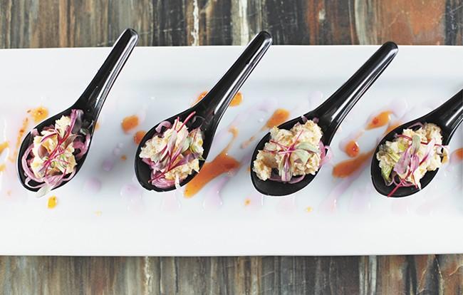 The sea bass spoon dish at Satay Bistro. - YOUNG KWAK