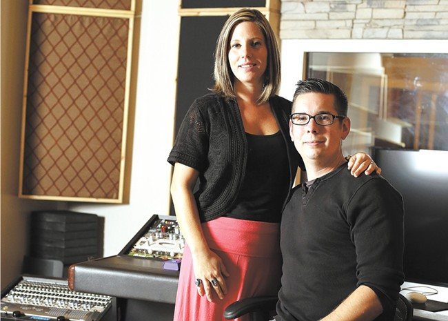 Mandy and Jimmy Hill in the control room of their new Amplified Wax recording studio. - YOUNG KWAK