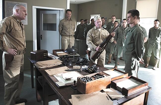 Andrew Garfield (far right) stars in Mel Gibson's war biopic.