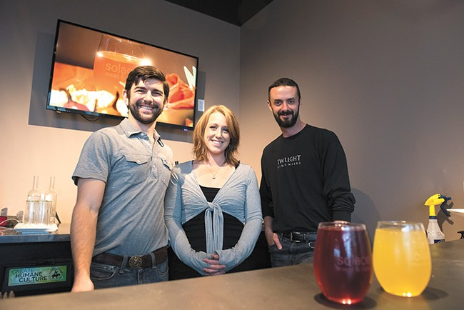 Jeremy and Michelle Kyncl (left) of Hierophant Meadery with Will Jordan (right) of Twilight Ciderworks. - DEREK HARRISON
