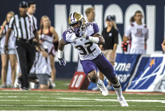 UW defensive backs, including Budda Baker, will try to shut down WSU's potent passing game. - MASON KELLY/UW ATHLETICS