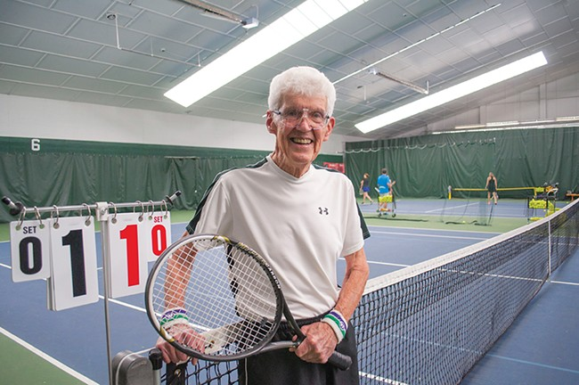 There's no handicap in tennis, and 91-year-old Larry Kraft wouldn't take on if there was. - SARAH PHILP
