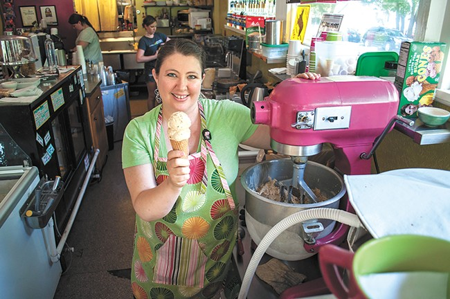 Jennifer Davis, owner of the Scoop ice cream shop, says she'll probably be taking on more shifts so her business can afford the $1.53 minimum-wage hike approved by voters in November. - SARAH PHILP
