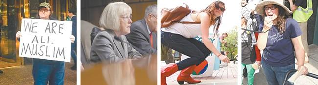 FROM LEFT: Filmmaker Michael Moore, Washington Sen. Patty Murray, local activists Taylor Weech and Liz Moore.