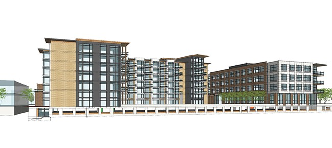 An initial rendering of a planned 200,000-square-foot residential, office and retail complex to be constructed in Kendall Yards. - GREENSTONE HOMES PHOTO