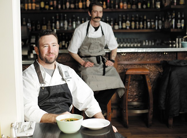 Clover chef Travis Dickinson (front) and sous chef Cody Geurin - YOUNG KWAK
