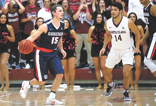 Guard Rem Bakamus  leads a spirited batch of bench players for the Zags. - GU ATHLETICS