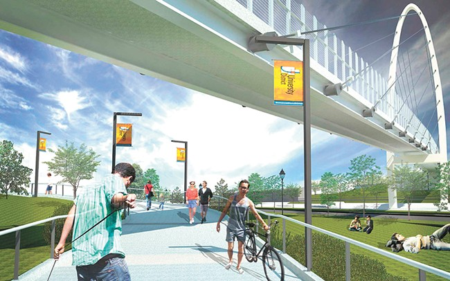 Walkers, bikers and strollers will share the area. - RENDERING COURTESY OF CITY OF SPOKANE