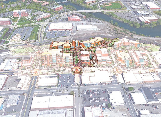 Avista's rendering of a planned development south of the train tracks.