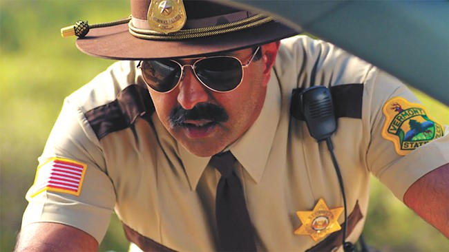 Don't mess with this 'stache — on Jay Chandrasekhar as Thorny in Super Troopers.