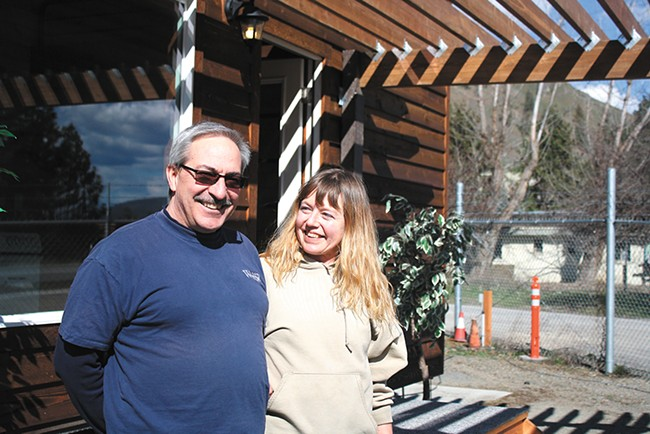 Keith and Daisy Wilder, of Wilder Construction, in front of the first tiny home built for Hope Street. - SAMANTHA WOHLFEIL PHOTO