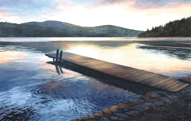 Jessica Bryant, Sunrise on Bottle Bay (painting).