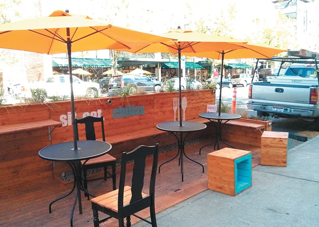 A parklet in downtown Spokane. - CHEY SCOTT