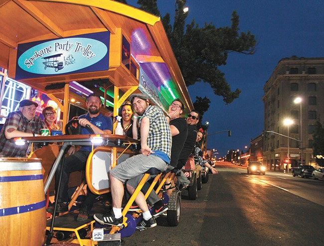 Earn your (booze-fueled) calories on the Spokane Party Trolley. - YOUNG KWAK